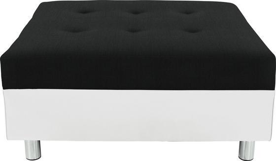Hocker Linda - Chromfarben/Schwarz, MODERN, Textil (83/44/78cm)