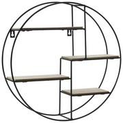 Dekowandregal Ø 40 cm - Schwarz/Braun, Holz/Metall (40cm)