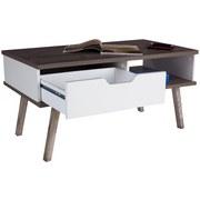 Couchtisch Turin 110 cm mit Schublade und Ablagefach - Eichefarben/Weiß, MODERN, Holz/Holzwerkstoff (110/50/50cm)