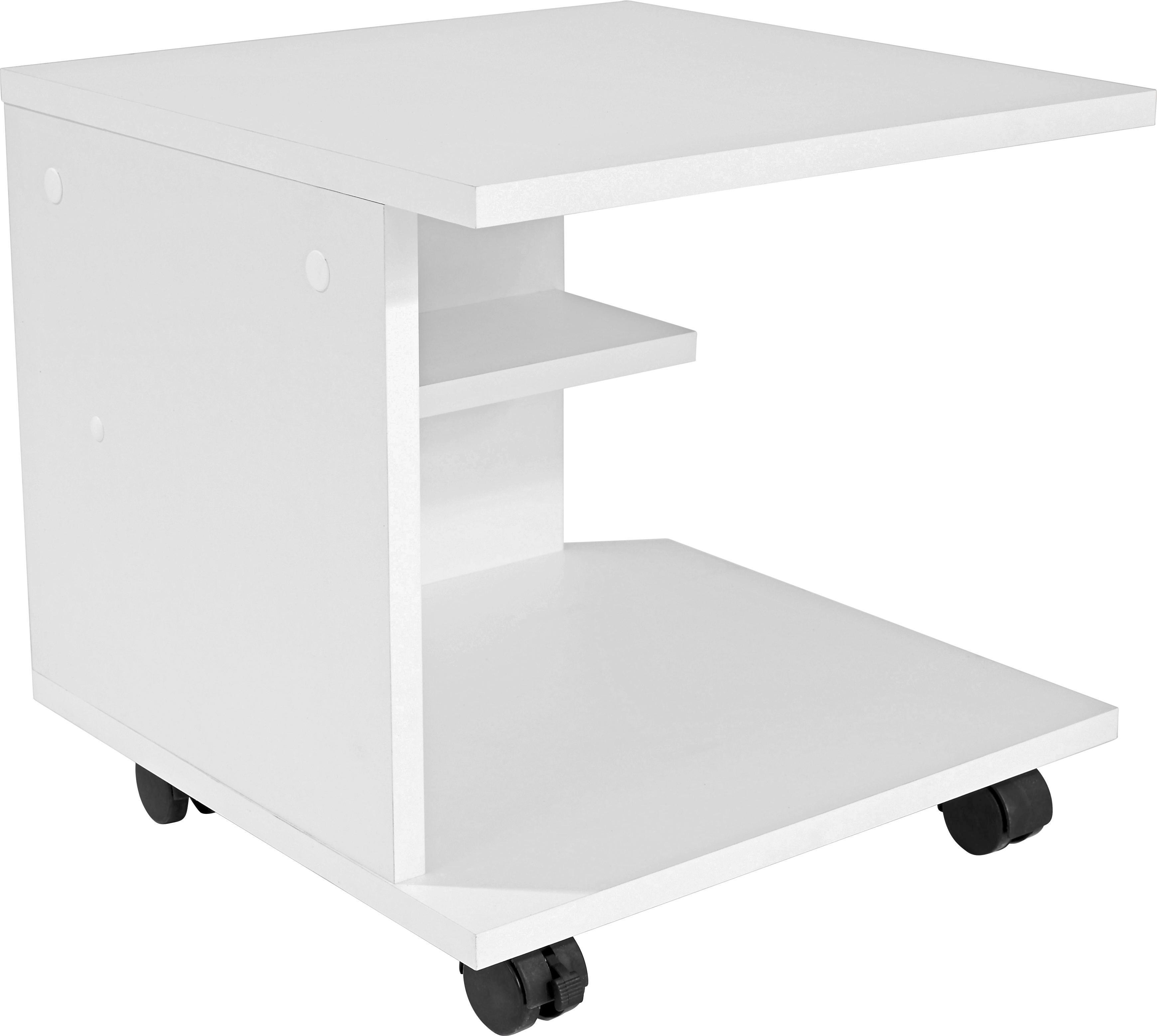 Kisasztal Gyöngyházfehér - fehér, modern, faanyagok (39/38/38cm)