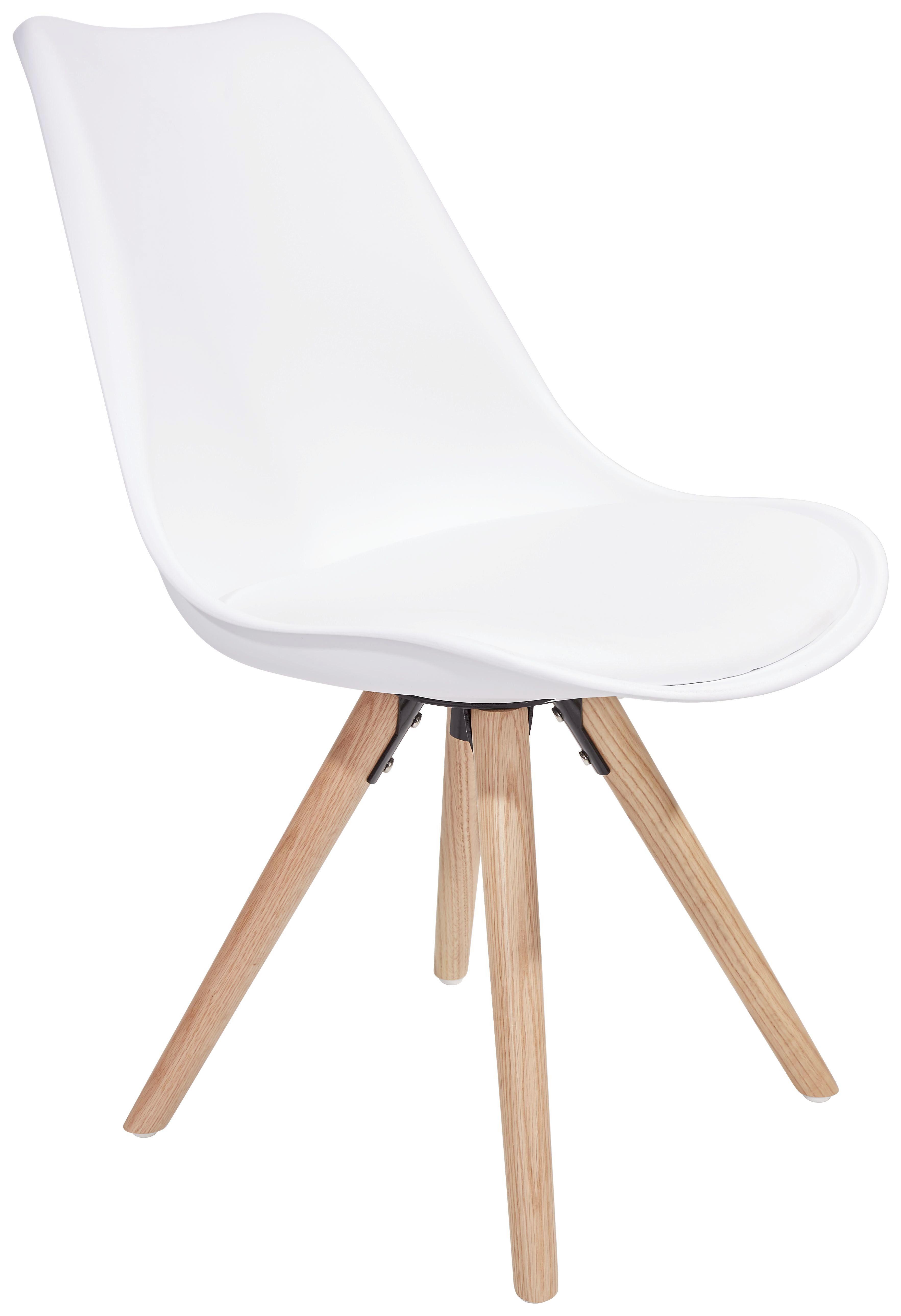 Stuhl Levi Weiß - Eichefarben/Weiß, MODERN, Holz/Kunststoff (48/81/57cm) - Ombra