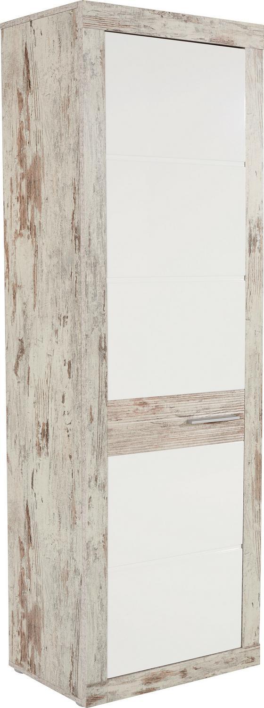 Szekrény Malta - tölgy színű/fehér, modern, üveg/faanyagok (63,9/196,6/34,9cm)