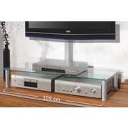 TV-Aufsatz Felino Mini B: 105 cm - Klar/Silberfarben, KONVENTIONELL, Glas/Metall (105/19/42cm)