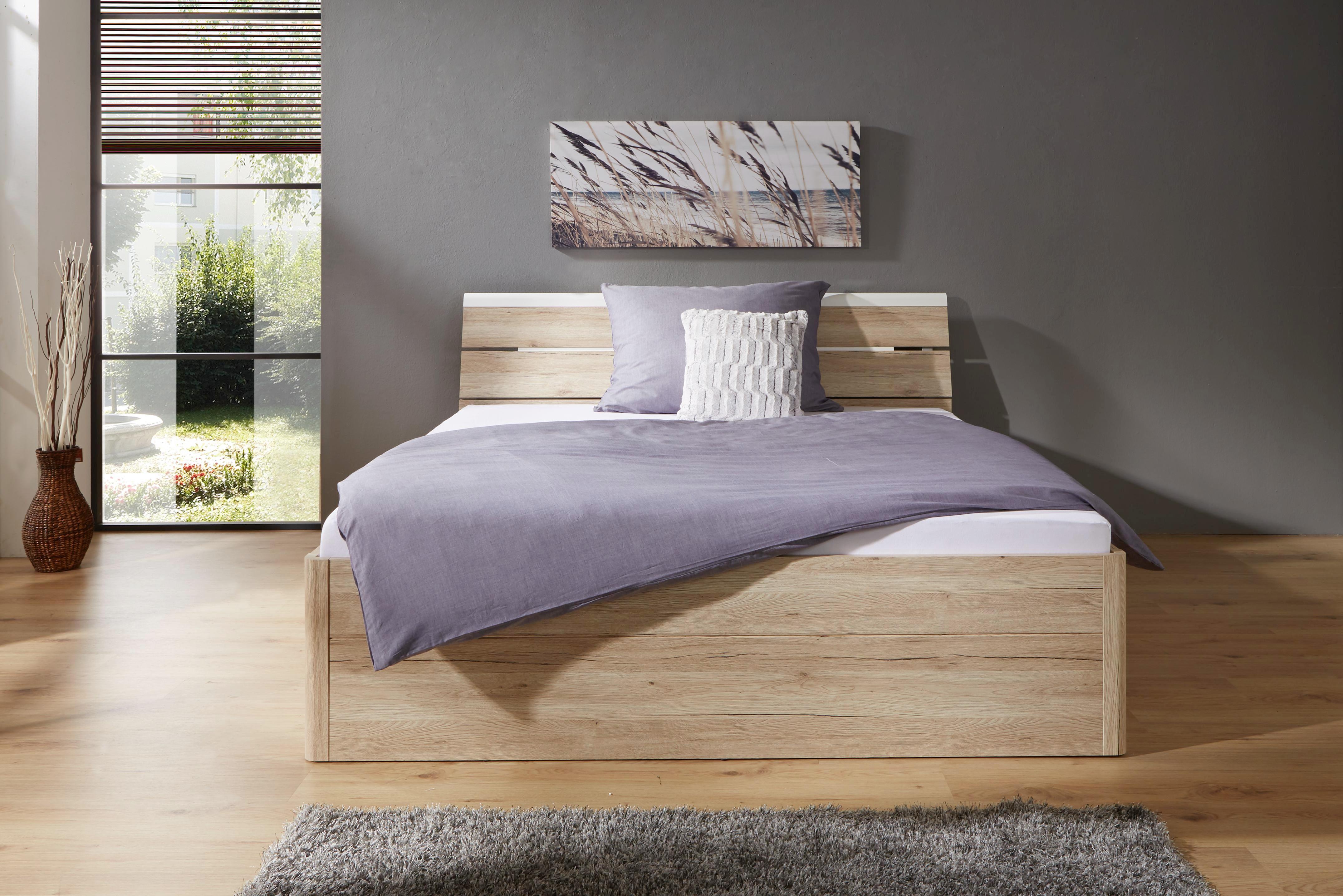 Postel Mars - bílá/barvy dubu, Moderní, dřevěný materiál (145/97/216cm)