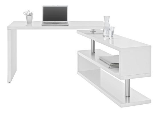 Psací Stůl Matteo - bílá/barvy chromu, Moderní, kov/dřevěný materiál (130/76/128,5cm)