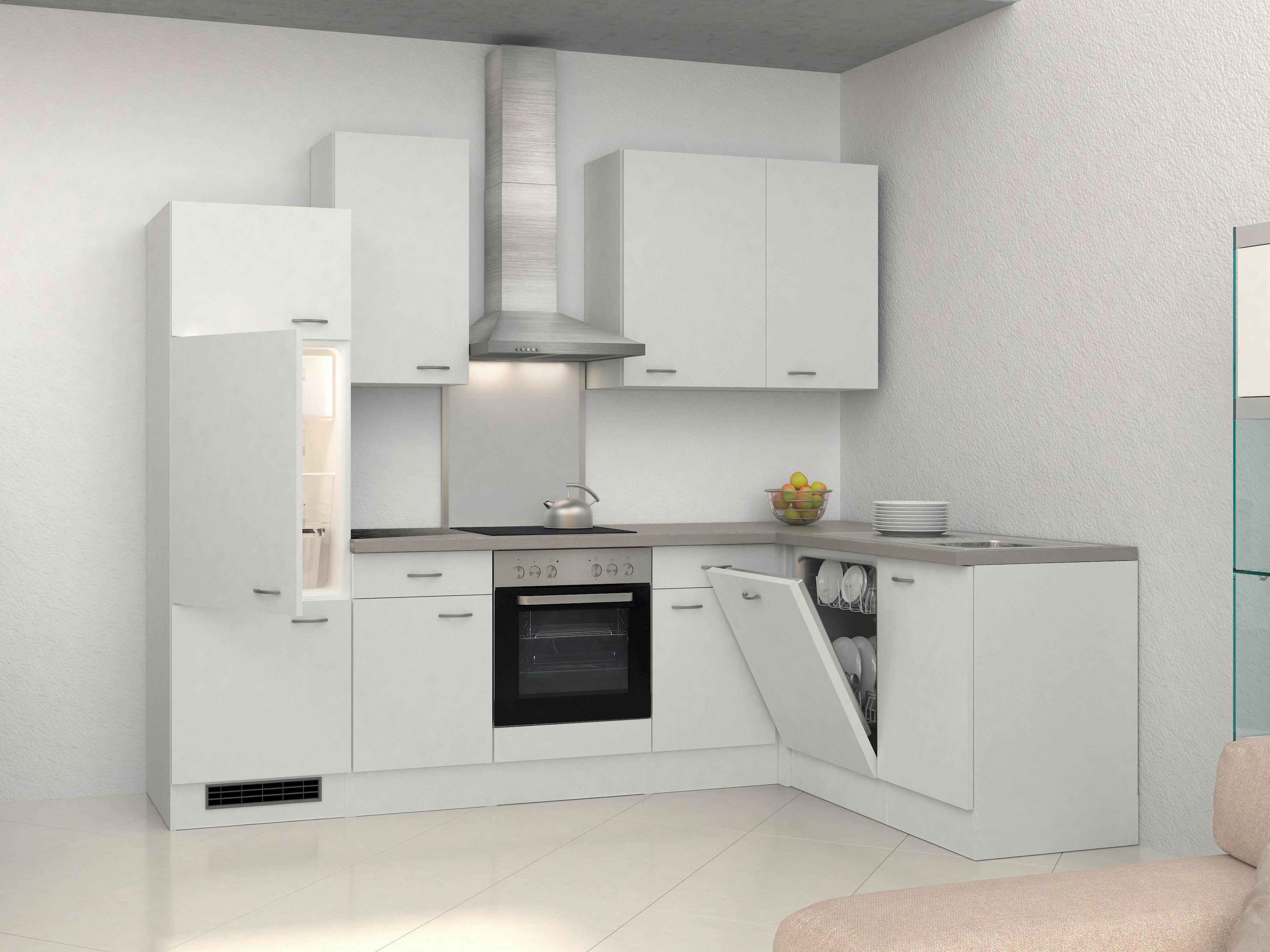 Eckküche Wito 280x170 cm Weiß - Edelstahlfarben/Weiß, MODERN, Holzwerkstoff (280/170cm)
