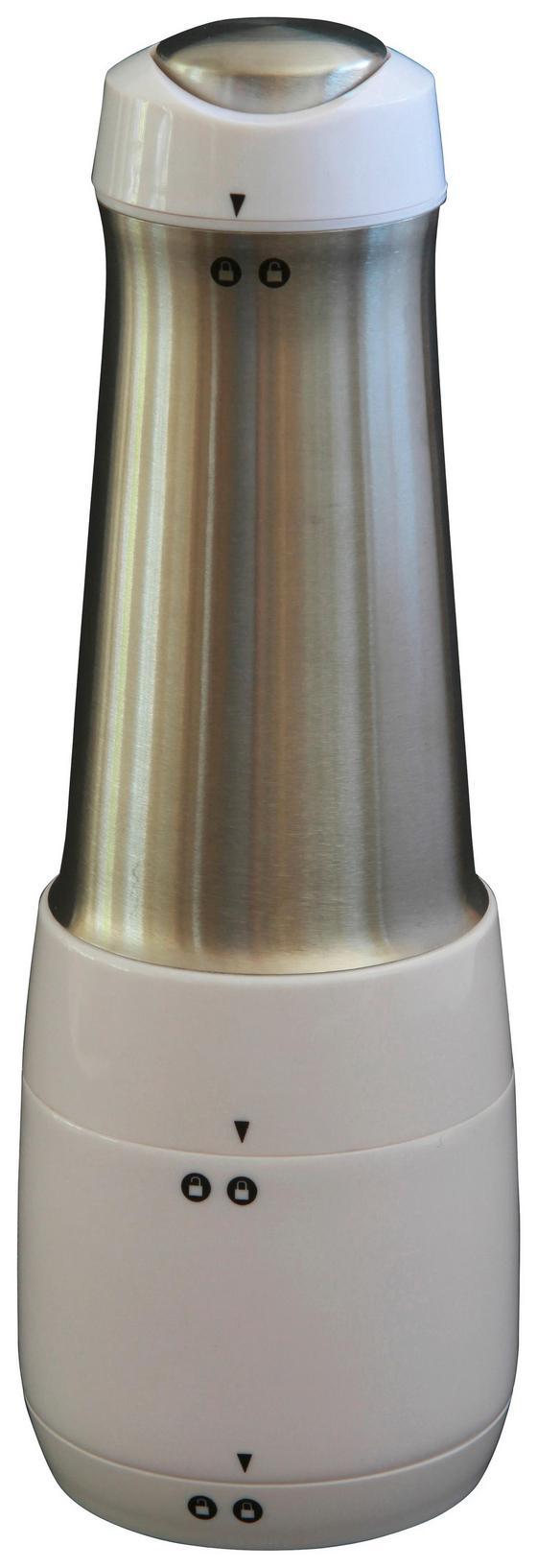 Parmesanreibe Elektrisch - Silberfarben/Weiß, MODERN, Kunststoff/Metall (9/25,5/9cm) - Collini