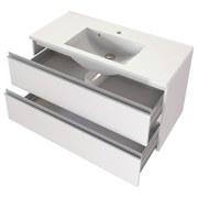 Badmöbel-Set 2-Tlg. Inkl Led Arezzo B: 100 cm, Weiß - Weiß, Basics, Holzwerkstoff/Stein (100cm) - MID.YOU