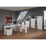Schreibtisch B 140cm H 74,2cm Serie 200, Weiß - Silberfarben/Weiß, Basics, Holzwerkstoff/Metall (140/65/74,2cm) - MID.YOU