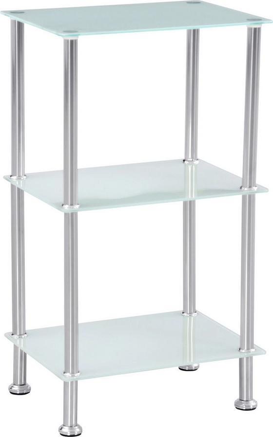 Regál Glare - bílá/barvy nerez oceli, Moderní, kov/sklo (40/70/30cm) - Luca Bessoni