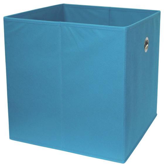 Skladací Box Cubi - petrolejová, Moderný, drevený materiál/textil (32/32/32cm)