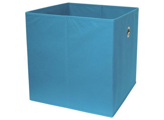 Skladací Box Cubi - petrolejová, Moderný, kompozitné drevo/textil (32/32/32cm)