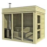 Sauna Outdoor Wwc 2x3 mit Int. Steuerung 228,6x328,6x278 cm - Naturfarben, KONVENTIONELL, Holz (228,6/328,6cm)