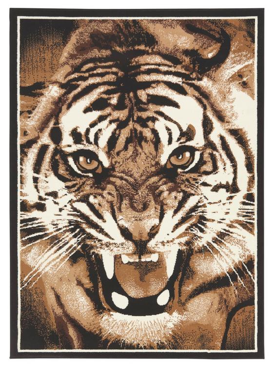 Szőnyeg Tigrismintás - barna, konvencionális, textil (160/225cm)
