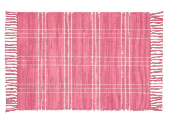 Handwebteppich Flora 60x90 cm - Pink, Textil (60/90cm) - Ombra