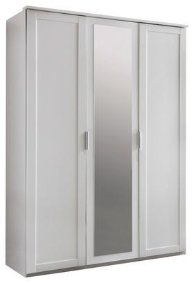 Dreitüriger Kleiderschrank in Weiß mit Spiegeltür