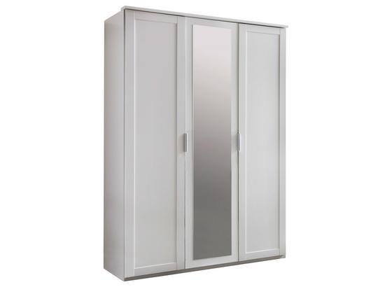 Drehtürenschrank mit Spiegel 135cm Nadja, Weiß Dekor - Weiß, KONVENTIONELL, Glas/Holzwerkstoff (135/210/58cm) - Cantus