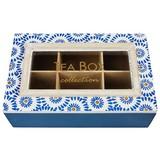 Teebox Alesha - Blau/Goldfarben, Natur, Glas/Holzwerkstoff (23,5/7/13,5cm) - Luca Bessoni