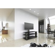 TV-Regal Bulmo B: 120 cm Schwarz - Schwarz, KONVENTIONELL, Glas/Kunststoff (120/90/40cm) - Livetastic