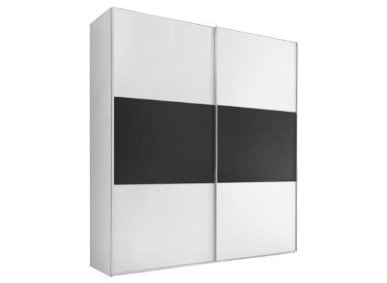 Schwebetürenschrank 188cm Includo, Weiß/ Anthrazit Dekor - Anthrazit/Weiß, MODERN, Glas/Holzwerkstoff (188/222cm) - Bessagi Home