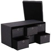 Lavice Bench - šedá/černá, Moderní, kompozitní dřevo/textil (76/38/38cm)