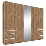 Drehtürenschrank mit Spiegel + Laden 250cm Level 36a, Eiche - Eichefarben, MODERN, Glas/Holzwerkstoff (250/216/58cm) - MID.YOU