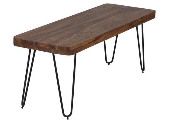 Sitzbank Bagli B: ca. 120 cm - Sheeshamfarben/Schwarz, MODERN, Holz (120/45/40cm) - Livetastic