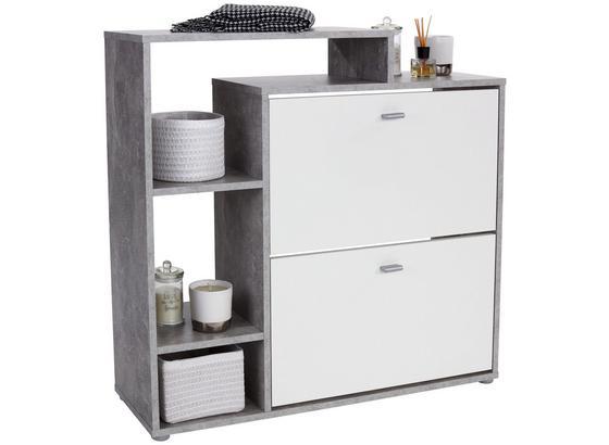 Schuhschrank Vesna - Weiß/Grau, MODERN, Holzwerkstoff (95/90/28cm)