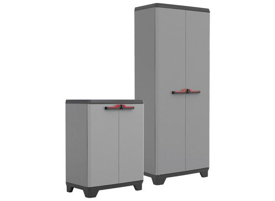 Kunststoffschrank Set Stilo Hoch/Niedrig - Grau, Basics, Kunststoff (136/173/39cm) - Keter