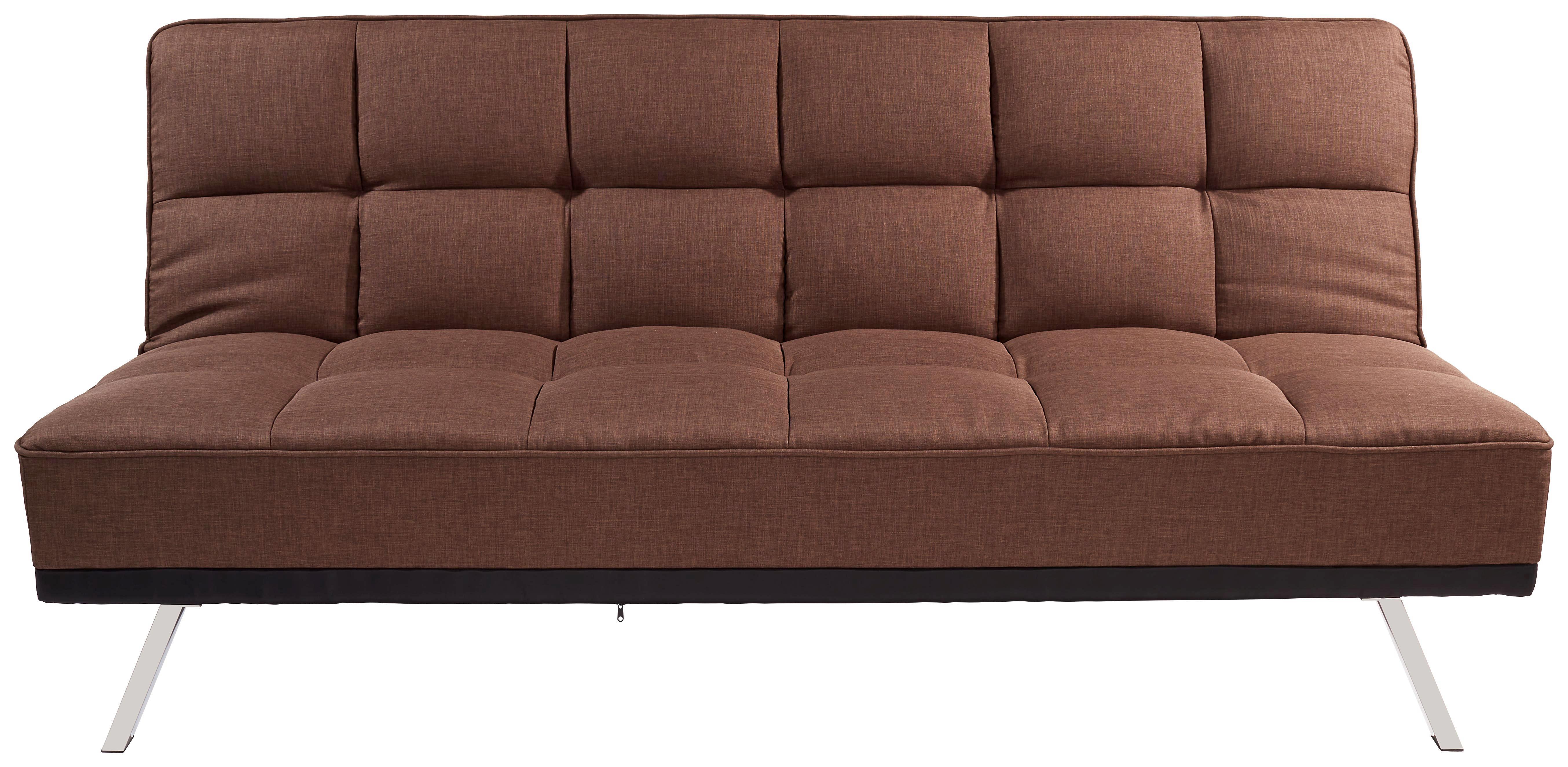Kanapéágy Roma - barna/nemesacél színű, modern, textil/fém (179/87/96cm) - OMBRA