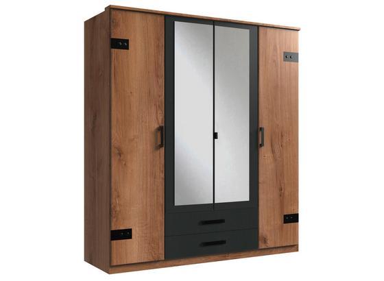 Skříň S Otočnými Dveřmi Cork - barvy dubu/barvy grafitu, Konvenční, kompozitní dřevo (180/199/58cm)