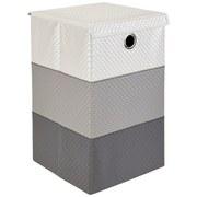 Wäschekorb Dori - Weiß/Grau, Basics, Kunststoff/Textil (35/35/59cm) - Ombra