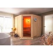 Bio-Sauna Nizza mit externer Steuerung (Kombi-Sauna) - Naturfarben, MODERN, Holz (196/198/196cm) - Karibu