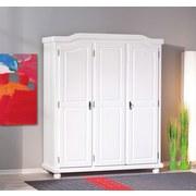 Drehtürenschrank Massiv 150cm Bastian,  Kiefer/ Weiß - Weiß, LIFESTYLE, Holz (150/180/56cm) - Carryhome