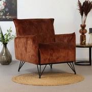 Sessel Mika Luxuryb:72cm Kupferfarben - Schwarz/Kupferfarben, Design, Textil (72/85/77cm) - MID.YOU