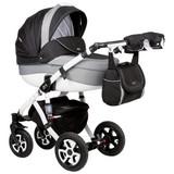 Kinderwagen Cara Plus L: 97 cm Weiß - Schwarz/Weiß, Basics, Textil/Metall (97/33/60cm)
