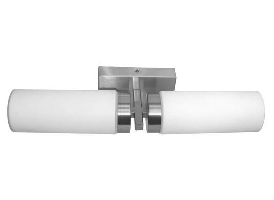 Wandleuchte Nickelfarben - Weiß, KONVENTIONELL, Glas/Metall (31cm)