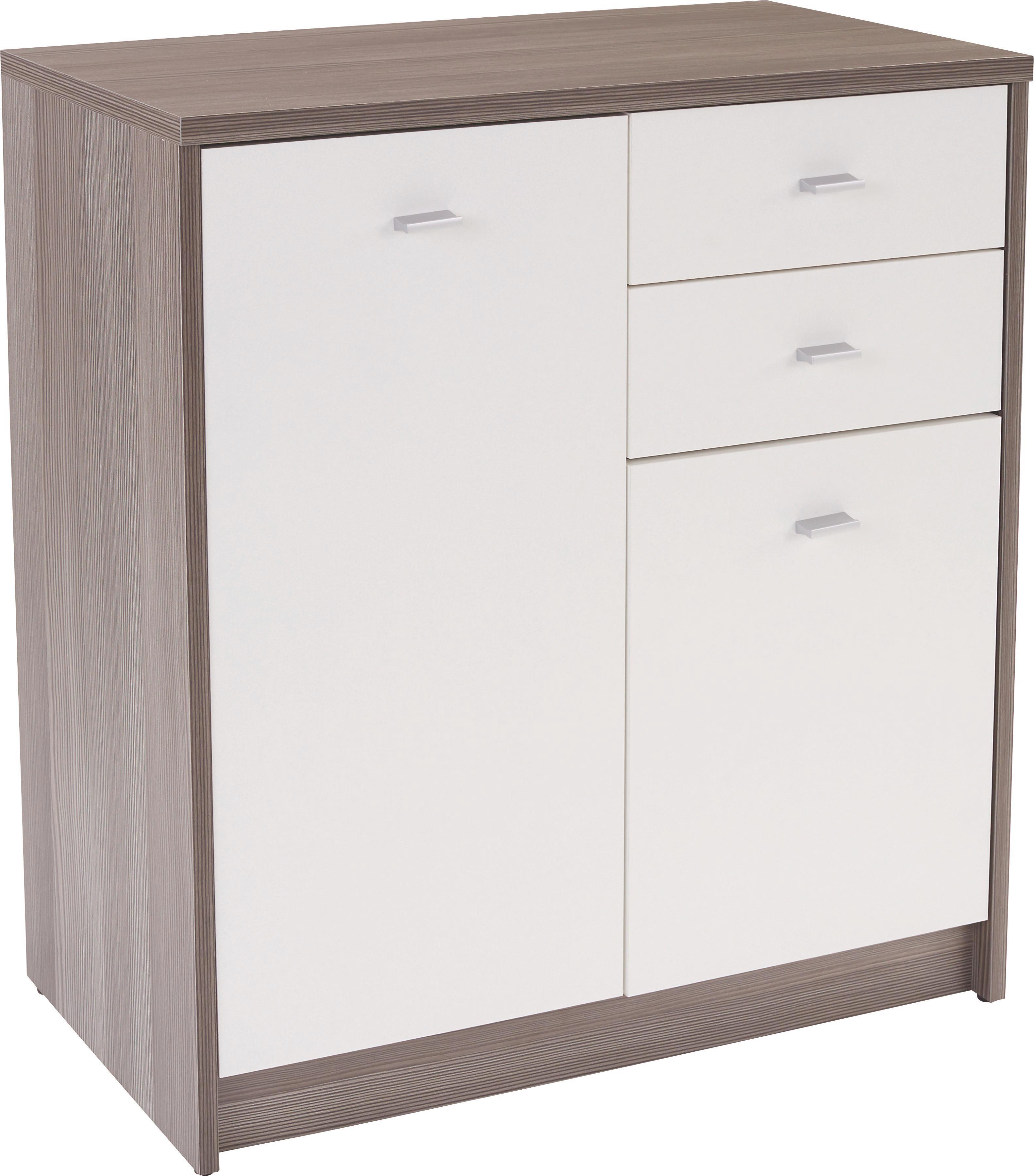Komoda 4-you Yuk04 - bílá/tmavě hnědá, Moderní, dřevěný materiál (74/85,4/35,2cm)