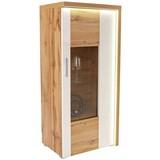 Vitrine Eleganza inkl. LED- Beleuchtung B:65cm Eichendekor - Eichefarben/Alufarben, MODERN, Glas/Holzwerkstoff (65/136.3/38cm)