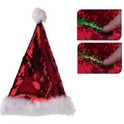Weihnachtsmütze Purzel mit Pailetten - Rot/Goldfarben, MODERN, Kunststoff (28/35cm)