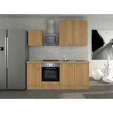Küchenblock Nano 210cm Buche - Edelstahlfarben/Buchefarben, MODERN, Holzwerkstoff (210/60cm)