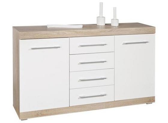 Sideboard Lublin 4 B: 155cm Sonoma Eiche - Weiß/Sonoma Eiche, Basics, Holzwerkstoff (155/87/40cm) - Livetastic