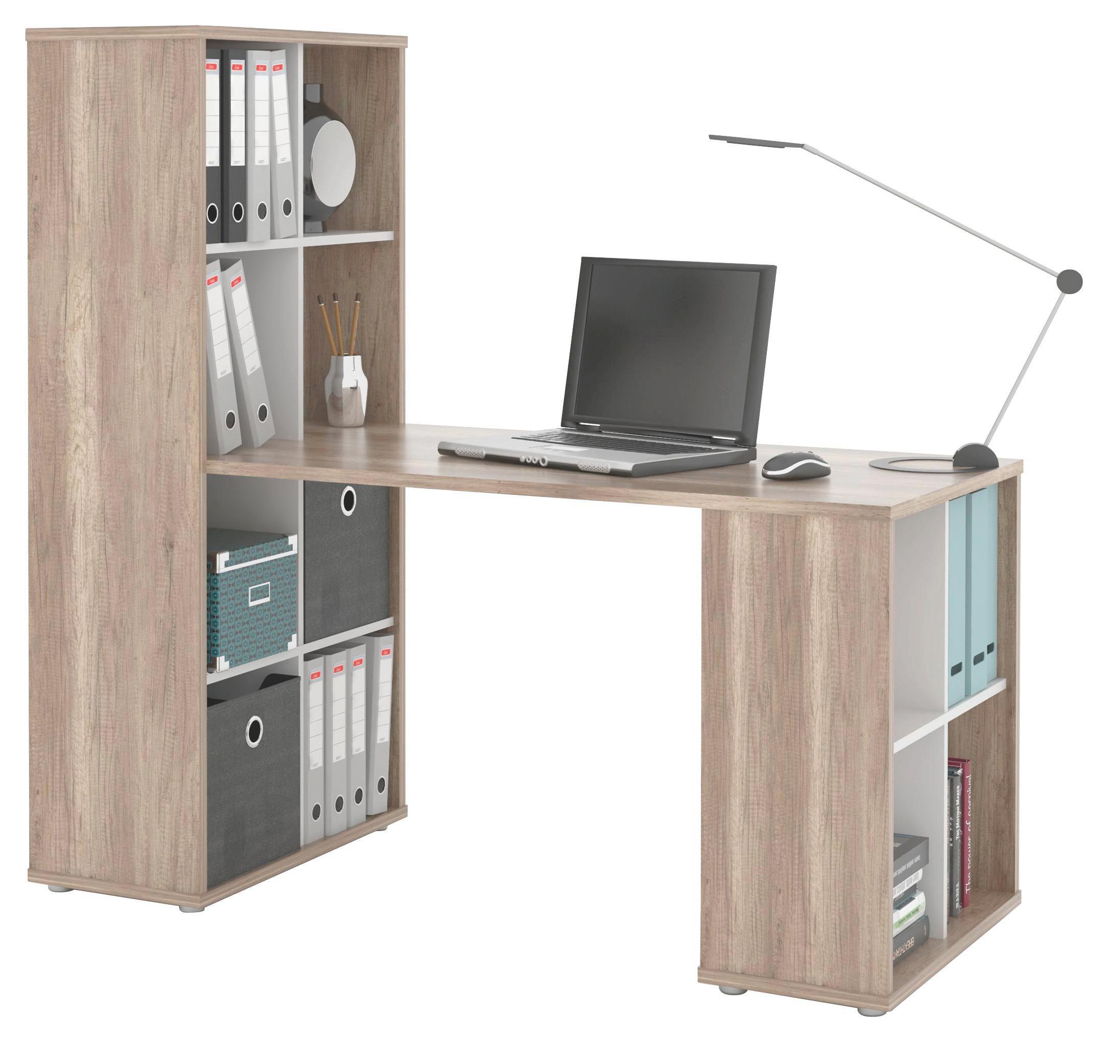 Schreibtisch Quattro   Eichefarben/Weiß, MODERN, Holzwerkstoff (146/143,2