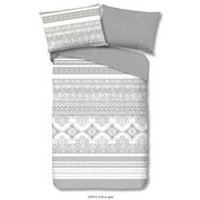 Bettwäsche Lola 140/200cm Grau/Weiß - Weiß/Grau, Basics, Textil