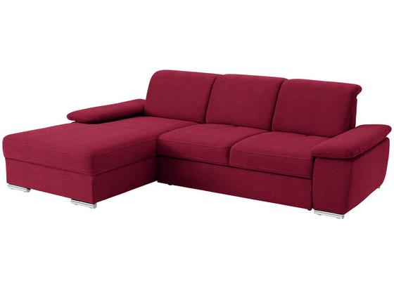 Wohnlandschaft in L-Form Leandro 184x283 cm - Chromfarben/Rot, MODERN, Textil (184/283cm)