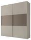 Schwebetürenschrank Includo 188cm Sand/umbra - Sandfarben/Taupe, MODERN, Glas/Holzwerkstoff (188/222/68cm)