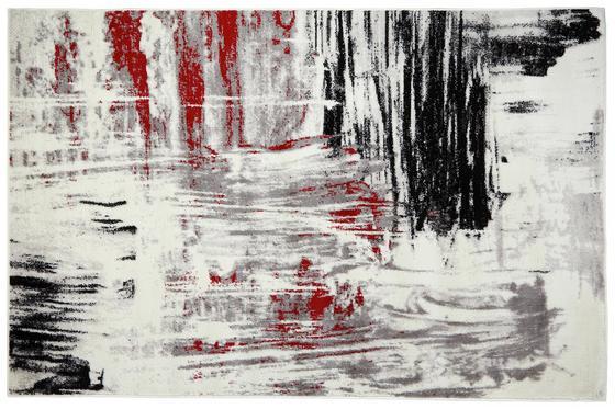 Webteppich Metro 80x150 cm - Beige/Rot, KONVENTIONELL, Textil (80/150cm) - Ombra