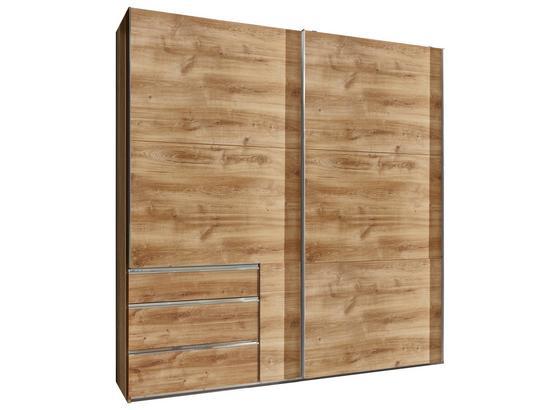 Schwebetürenschrank mit Schubladen 250cm Level 36a - Eichefarben, MODERN, Holzwerkstoff (250/216/65cm)