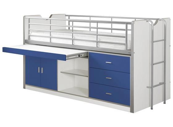 Hochbett Bonny 90x200 cm Weiß/Blau - Blau/Weiß, Basics, Holzwerkstoff (90/200cm) - Livetastic