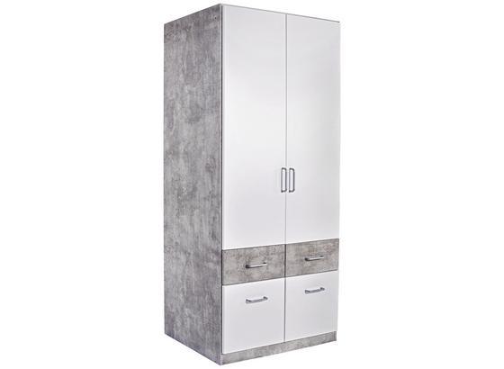 Šatná Skriňa Aalen-extra - sivá/biela, Konvenčný, kompozitné drevo (91/197/54cm)